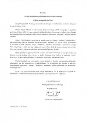 rezolucja chrzest Polski