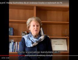 Rekomendacja prof. Hanny Suchockiej dla dr Andrzeja Grzyba w wyborach do PE